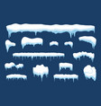 snow with icicle and ice cap winter weather vector image