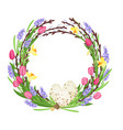spring wreath from branches of willow and flowers vector image vector image