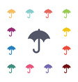 umbrella flat icons set vector image vector image
