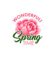 wonderful spring time badge vector image vector image