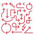 simple arrow set red color vector image