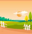 agriculture field sunny rural landscape vector image