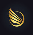 wing fly abstract gold logo vector image
