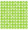 100 interaction icons set green circle vector image vector image