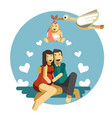 baby birth couple and stork carrying newborn vector image