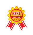 best seller badge with ribbon - icon sign design vector image
