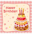 birthday cartoon card with cake tier vector image