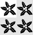 Black-and-White Holly with transparency isolated vector image
