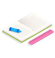 book and stationery supplies for study and work vector image vector image