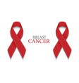 breast cancer awareness red ribbon vector image vector image
