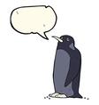 cartoon penguin with speech bubble vector image vector image