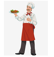 chef with cooked grill ribs vector image vector image