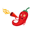 chili pepper with red megaphone vector image vector image
