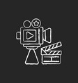 cinema industry chalk white icon on black vector image vector image