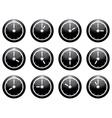 clock symbol set white on black isolated on white vector image vector image