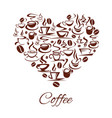 coffeehouse cafe heart poster coffee cups vector image