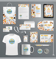 corporate identity items with work tools vector image vector image