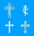 Cross icon blue set