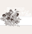 engraved abstract flower card background elegant vector image vector image
