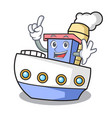 finger ship mascot cartoon style vector image vector image