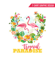 Flamingo and Tropical Flowers - for t-shirt vector image vector image