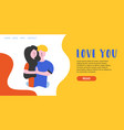 flat banner love you landing page vector image vector image