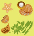 flat palm leaves and beach seashells on the yellow vector image vector image