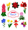 flower garden flowering plant isolated icon set vector image