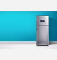 fridge at blue wall vector image vector image