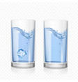 glass with water and ice cube vector image