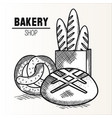 hand drawn bakery goods design vector image vector image