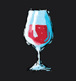 Hand drawn sketch of a glass of wine vector image