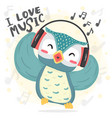 happy dance blue owl listen music and sing song vector image vector image
