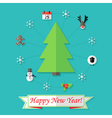 Happy New Year Card with Christmas Tree over Blue vector image vector image