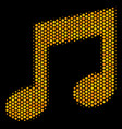 hexagon halftone music icon vector image