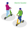 isometric electric scooter on road electric vector image vector image