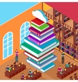 Isometric Library Stack Books Concept Knowledge vector image vector image
