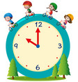 kids riding bike on giant clock vector image vector image