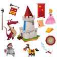 knight and dragon icons vector image