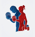 Man and woman exercise with dumbbell