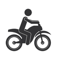 monochrome silhouette of man in motorcycle vector image