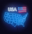 neon map of the usa on black background vector image