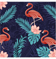 pattern animals-tropical flamingo vector image