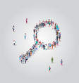 people crowd gathering in magnifying zoom shape vector image vector image