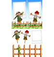photo frame template with scarecrows vector image vector image