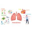 pneumonia infographics lung disease symptoms vector image