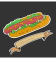Retro Hotdog emblem vector image