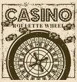 roulette wheel vintage poster banner for casino vector image