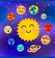 set cartoon planets solar system with cute vector image vector image