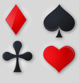 Set of shiny card suit icons in black and red